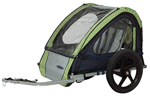 InStep Take 2 Double Seat Foldable Tow Behind Bike Trailers, Featuring 2-in-1 Canopy and 16-Inch Wheels, for Kids and Children, Green ()