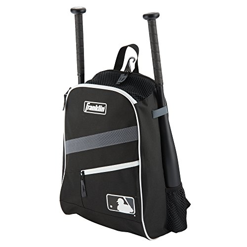 Franklin Sports MLB Batpack Bag - Youth Baseball, Softball and Teeball Bag - Equipment Bag for Sports - Bag Holds Bats (2) and Includes Fence Hook - Black/Grey/White
