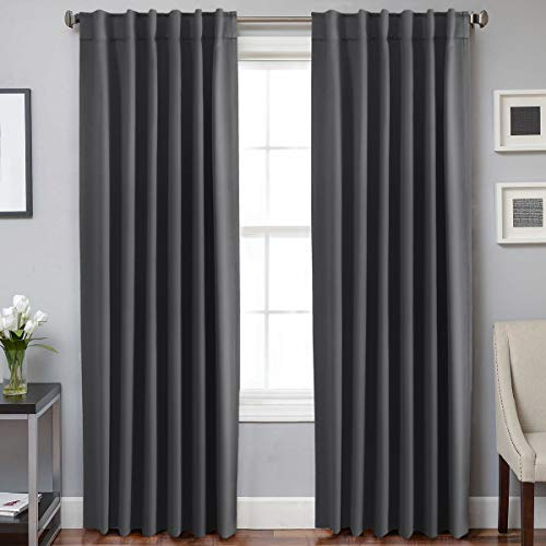 (H.VERSAILTEX 100% Blackout Curtain Panels Window Draperies Insulating Room Darkening Blackout Drapes for Bedroom Back Tab/Rod Pocket Draperies 84 Inch Set of 2 - Charcoal Gray)