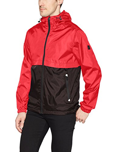 Southpole Men's Water Resistance Hooded Windbreaker Jacket, red, -