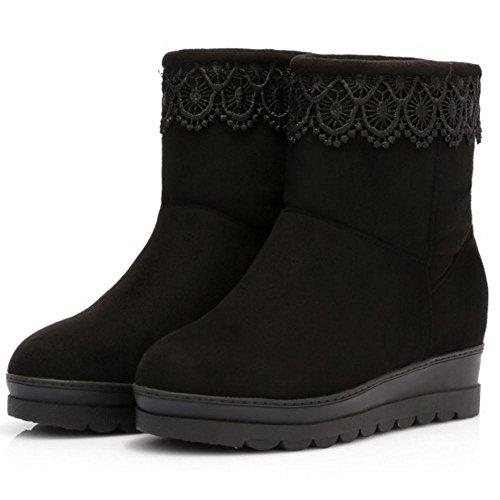 Hidden Shoes Black TAOFFEN Boots Heel Women's wzwgAxIE