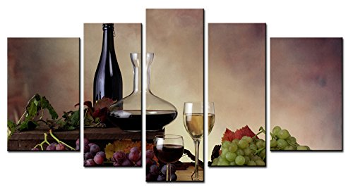 SmartWallArt - Wine Paintings Wall Art Wine and Grapes with Withered Leaves 5 Panels Picture Print on Canvas for Modern Home Decoration