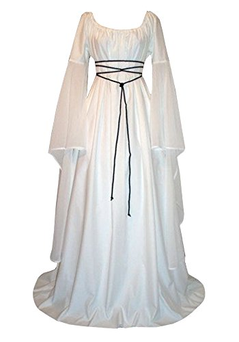 Misassy Womens Renaissance Costumes Medieval Irish Over Dress Victorian Retro Gown Cosplay -