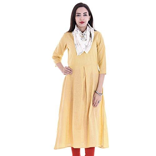 Chichi Indian Women Kurta Kurti 3/4 Sleeve X-Large Size Plain with Scarf Round Beige Top by CHI