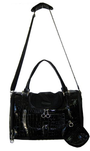 Faux-Crocodile Travel Bag w/Matching Coin Purse Tote Carrier -- Black by mpet