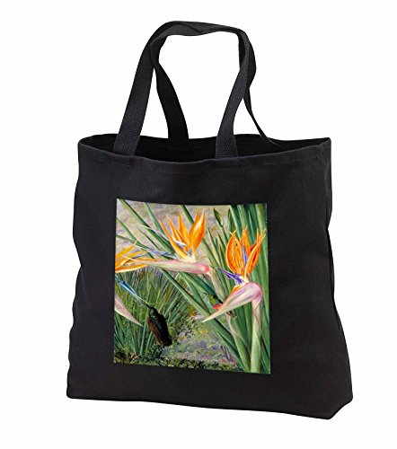 Florene Vintage Botanical - Image of Victorian Painting Africa Bird Of Paradise Plant - Tote Bags - Black Tote Bag 14w x 14h x 3d - Of Tote Paradise Bird