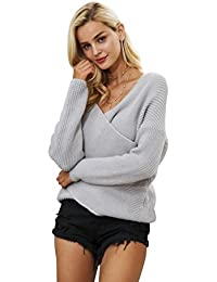 Women's Casual Loose Sexy V Neck Long Sleeve Pullover Sweater