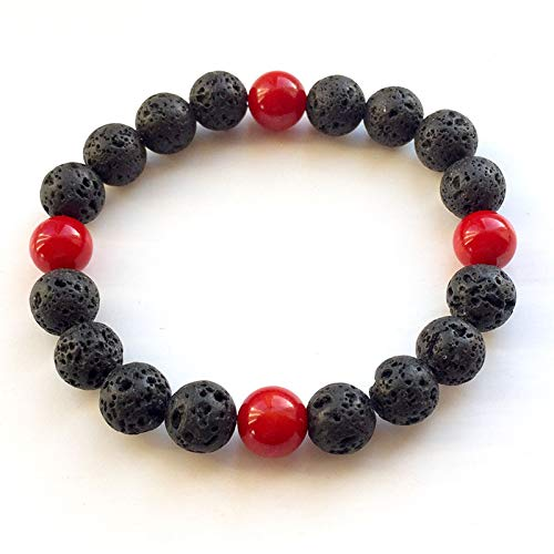 (Wholesale Black Volcanic Lava Stone Red Coral White Jades 8mm Beaded Bracelet for Women Men Fashion Personality Jewelry)