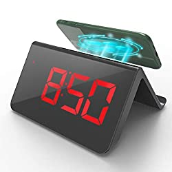 VimPower Alarm Clock with Wireless Charging with LED Display and Wireless Charging Pad and USB, Adjustable Brightness, 3 Alarms, Temperature, Digital Alarm Clock for Bedroom, Bedside, Office