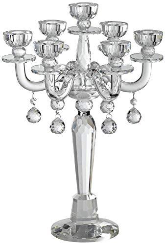"Dahlia Studios Huntington 19"" High Crystal Candelabra Taper Candle Holder"