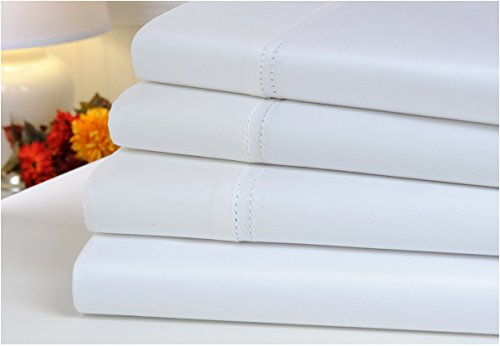 Mellanni 100% Egyptian Cotton Bed Sheet Set - 1000 Thread Count Sateen Weave - Long Staple Combed Natural Cotton - Deep Pocket Luxury Bedding - 4 Piece (Queen, White)