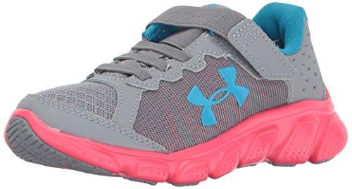 Under Armour Girls' Pre-School Assert 6 AC Running Shoes, Steel/Penta Pink, 13K M US Little Kid