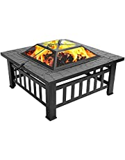 N in 1 Metal Heating Stove Courtyard Grill Fire Pit Ice Pit Garden Terrace Barbecue Bonfire Basin with Barbecue Grill and Cover