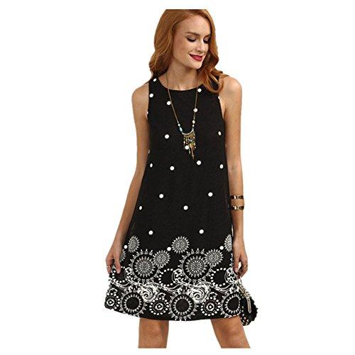 WEUIE Women Dresses Hot Sale Women's Summer Solid Chiffon Sleeveless Evening Party Vest Dresses (L,Black