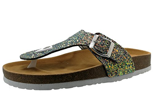 BigTree Sandals for Women T Strap Buckle Open Toe Gladiator Beach Thong Flat Summer Flip Flop Multicolored Glitter