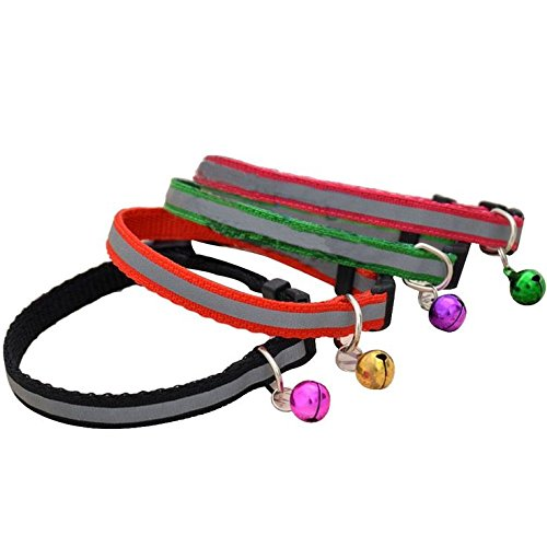 Bell Dog Cat (Reflective Cat Collar with Bell Cat Collars for Dog Puppy Kitten Nylon Collars (5 pack))