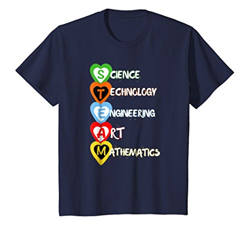 (Kids STEAM Hearts Back to School STEM Program Shirt 10 Navy)