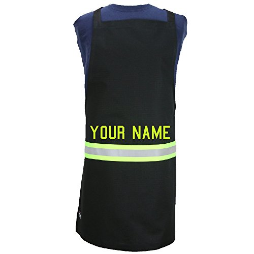 (Fully Involved Stitching Personalized Firefighter Cooking Apron Black with Yellow)