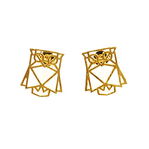 Cuple Gold Animal Stud Owl Earrings for Girls and Women (Owl Origami Earrings)