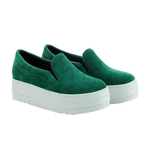 AllhqFashion Damen Ziehen auf PU Leder Mittler Absatz Rein Rund Zehe Pumps Schuhe Grün