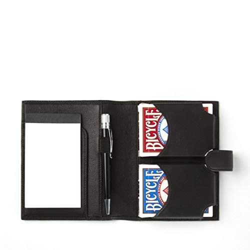 Playing Card Case with Notepad - Full Grain Leather - Black Onyx (black)