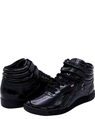 Reebok Femmes Freestyle Salut Brevets Baskets Noir