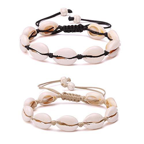 Softones 2Pcs Beach Shell Necklace Bracelet Anklet Set for Women Girls Summer Handmade Bracelets Ankle Bracelet Adjustable