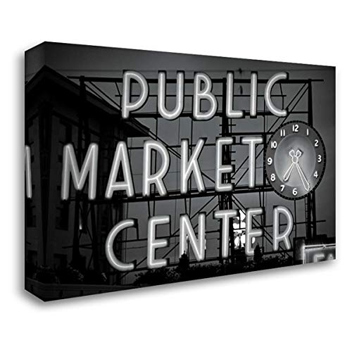 BW Public Market Sign II 40x28 Gallery Wrapped Stretched Canvas Art by Stefko, Bob