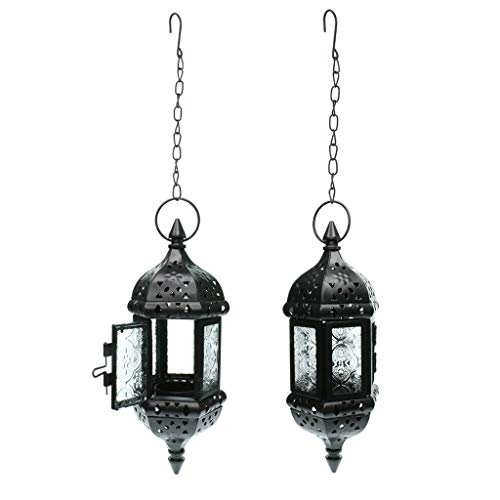 DYNWAVE 2PCS Moroccan Metal Hollow Hanging Candle Holder Decorative Candle Lantern Lamp with Iron Chain and Glass Panels, Black
