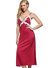 Ekouaer Women's Satin Lace Trim Slip Full Length Chemise Nightgown (XS-XXL)