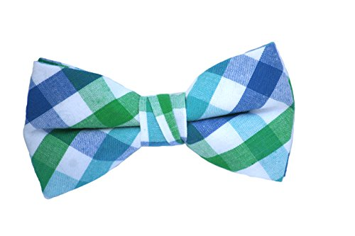 Born to Love - Boys Kids Pre Tied Adjustable Bowtie Easter Holiday Party Dress Up 4 Inches Black Green and Blue Plaid Cotton Bow tie