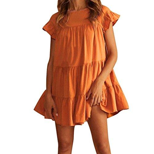 Womens Sexy Ruffle Short Sleeve Loose Boho Summer Sweet Mini Dress Casual Holiday Big Pendulum Dress Maternity Dresses (S, Orange) ()