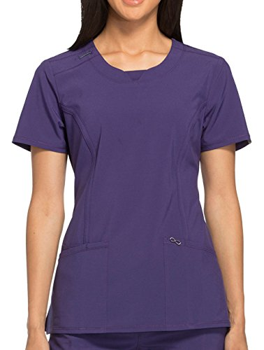 - Cherokee Infinity Women's Split Round Neck Solid Scrub Top Small Grape