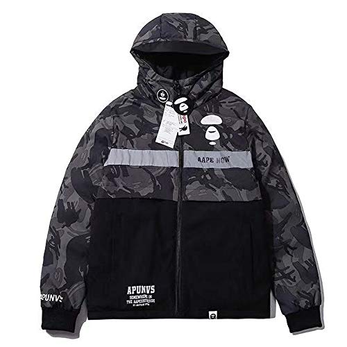 gxgjeans We Are Aape Bapes Coat camouflage character reflective stitched hooded down Unisex Jacket Coat