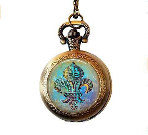 Blue and Green Fleur de Lis Pendant Necklace - Blue Hues - New Orleans Pocket Watch Necklace - Verdigris Jewelry