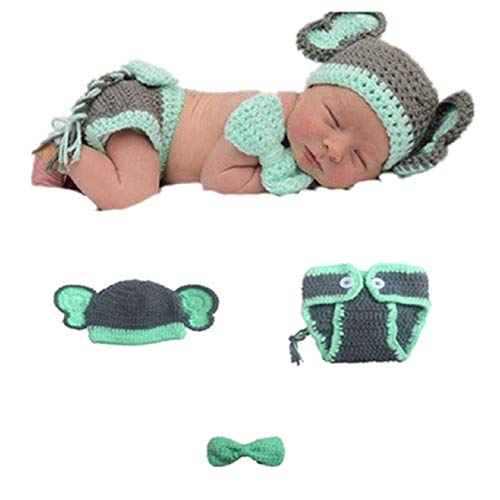 Newborn Baby Girl/Boy Crochet Knit Costume Photography Prop Hats and Outfits (Baby Bow-tie Elephant)]()