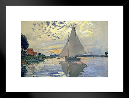 Claude Monet Sailboat at Le Petit Gennevilliers Art Print Matted Framed Wall Art 26x20 inch