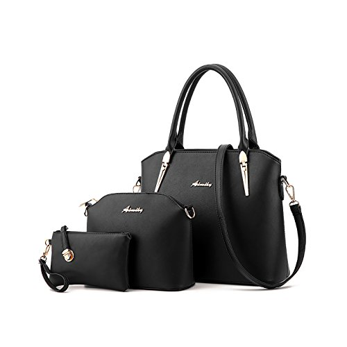 womens Bags handbags Three New Black Shoulder Tisdaini of handbag wallet fashion sets BWUgzqz5w