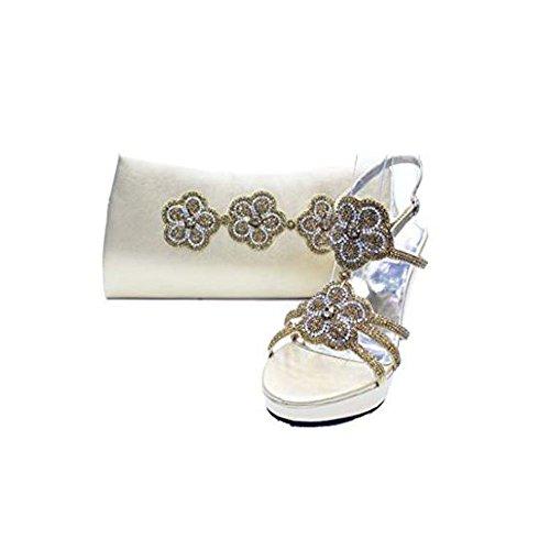Women Ladies Evening Diamante Wedge Platform Sandals Wedding Partywear Shoes Gold