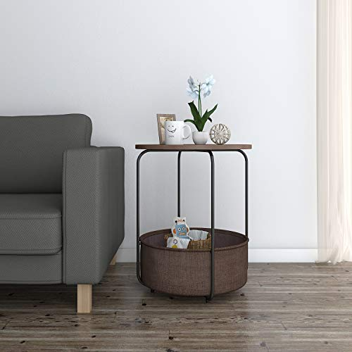 Lifewit Round Side Table End Table Industrial Coffee Table Nightstand with Storage Basket, Wood Look Accent, 18.9 × 18.9 × 23.6 in