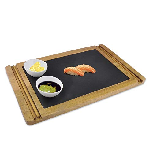 Sushi Wood Board Serving Platter - Food and Dessert Wooden Tray Plate Set - Natural Black Slate Stone Plates with 2 Pair of Chopstick - Includes 3 Ceramic Sauce Bowl for Dipping - NutriChef PKSUSH10
