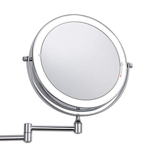 Zoom In On 3x Folding Mirror, Adjustable Led Vanity Mirror Wall Mirror Double Sided-3x 20cm(8inch) ()