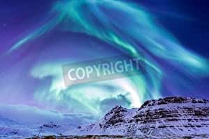 The Northern Light Aurora Borealis at kirkju Fell Iceland (38961417), Alu-Dibond, 120 x 80 cm