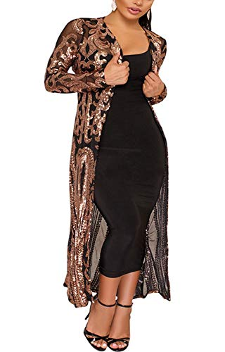 PROMLINK Sequin Cardigans for Women Long Sleeve Open Front Club Dress Coat Black