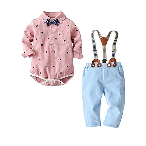 (Baby Boys Gentleman Outfit Suits,Infant Toddler Boys Pants Set,Long Sleeve Romper Shirt+Suspender Pants+Suspender Pants+ Bow Tie 4Pcs Clothing Set (Pink Aircraft, 6-9M/70))