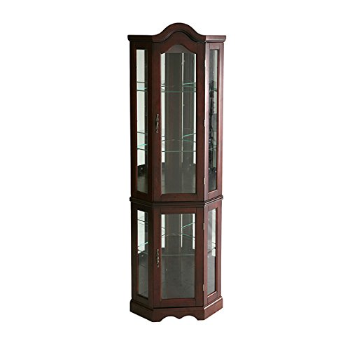 Svitlife McCoy Mahogany-finished Birchwood Lighted Display Cabinet Shelves Black Doors Shelf Stand Oak - Cabinet Mirrored Mahogany Curio