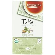 Davidson's Tea Tulsi Spicy Green, 25-Count Tea Bags (Pack of 6)