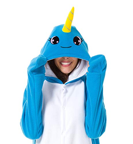 and Children Animal Narwhal Unicorn Cosplay Costume Pajamas Onesies Sleepwear (100# fits for Child Height 108-128cm, Narwhal Classic Eyelash) ()