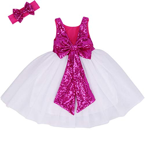 Cilucu Flower Girl Dress Baby Toddlers Sequin Dress Tutu Kids Party Dress Bridesmaid Wedding Gown Birthday Dress Hot Pink/White 5T-6T -