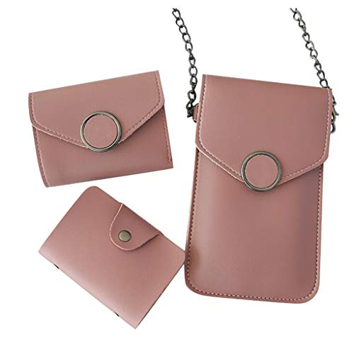 3PC Touch Screen PU Leather Mini Crossbody Bags Cell Phone Purse Wallet Pouch Case Shoulder Bag with Card